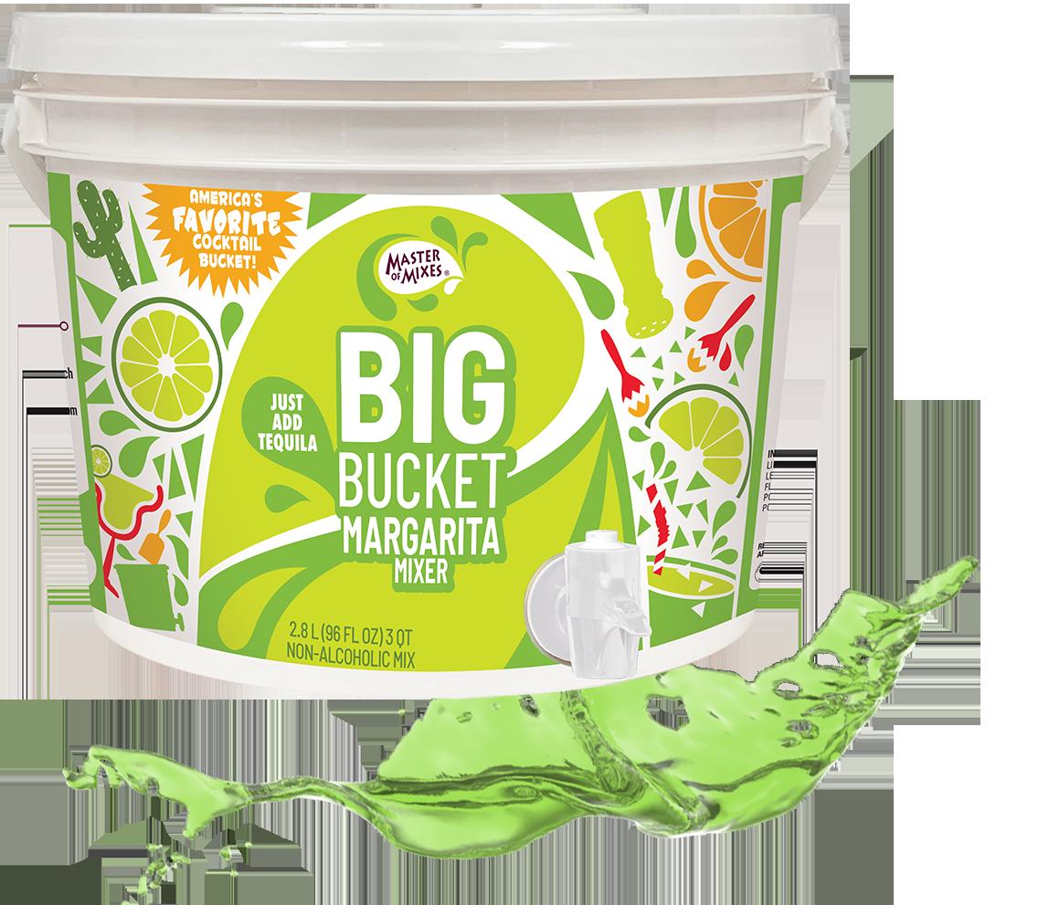 Big Bucket Margarita mixer with a green liquid splash behind the bucket